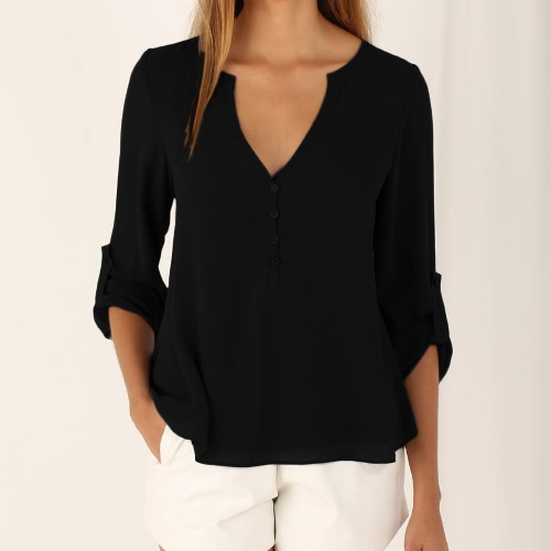 Buy Fashion V Neck Buttoned Back High Low Asymmetric Long Sleeve Fall Chiffon Blouse Women