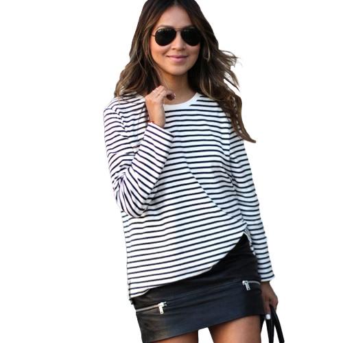 Buy Fashion Women Blouse Top Stripe O Neck Long Sleeve Casual Loose T-Shirt Tees White