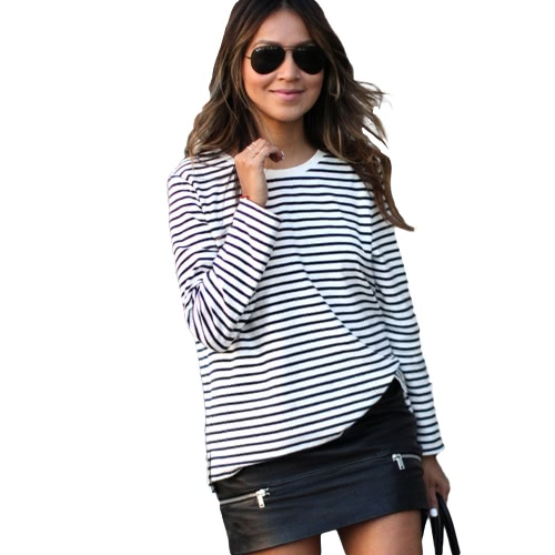 New Fashion Women Blouse Top Stripe O Neck Long Sleeve Casual Loose T-Shirt Tees White