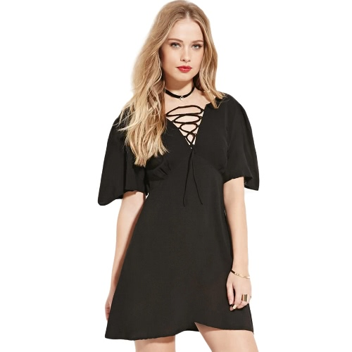 Fashion Women Dress Lace Up Front Deep V Neck Short Sleeves Back Zipper Mini A-Line Dress Black