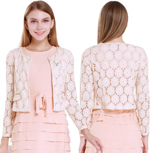 Buy Women Small Coat Hollow Floral Lace Rhinestone Open Front Long Sleeve Short Cardigan Brooch Pink