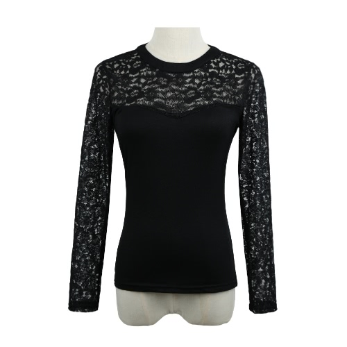 Buy Europe Women Sexy Blouse Lace Splice Hollow Long Sleeve Casual Party Club Pullover Shirt T-Shirt Tops Black