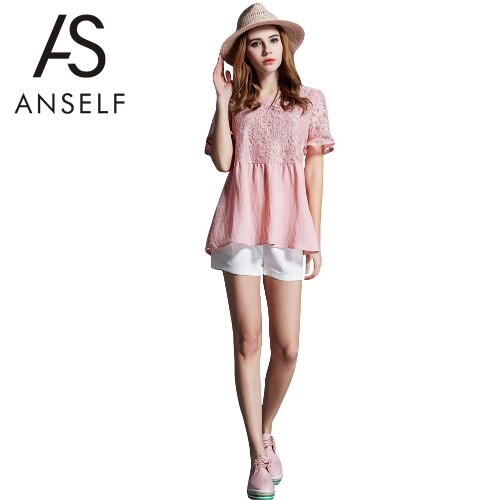 Buy Fashion Women T-Shirt Crochet Lace Hollow Round Neck Flare Sleeve Plus Size Top Pink