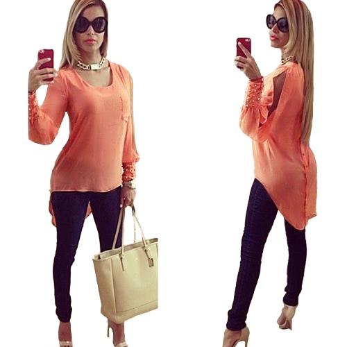 Buy Fashion Women Chiffon Blouse High-Low Hem O-Neck Long Sleeve Bead Button Loose Elegant Top Shirt Orange