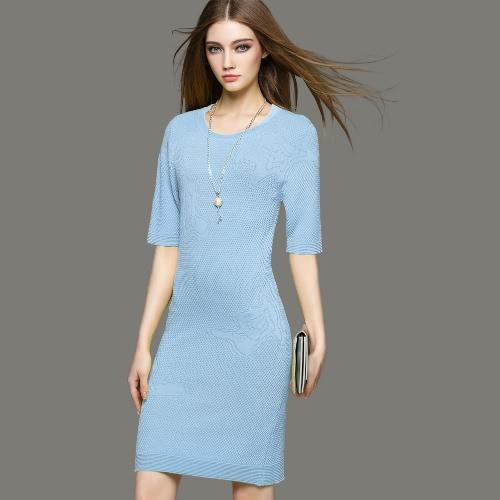 Buy Fashion Women Dress Knitted Crochet Pattern Round Neck Half Sleeve Slim Fit Elegant One-Piece Blue/Yellow/ Purple