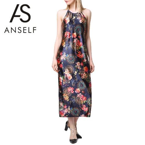 New Sexy Summer Women Long Dress Floral Print Halter O Neck Sleeveless Elegant Vintage Spaghetti Strap Slip Dress Black