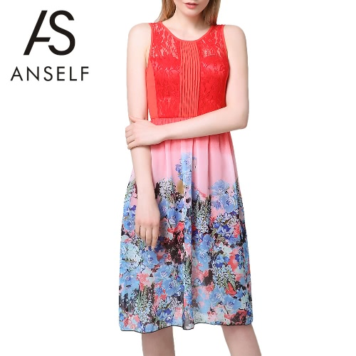 New Fashion Women Midi Dress Chiffon Lace Panel Floral Print Skirt Color Block Pleated Sleeveless Elegant One-Piece Orange