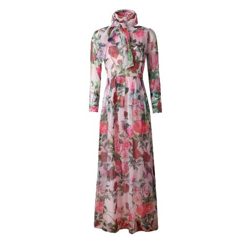 Buy Summer Women Chiffon Maxi Long Dress Rose Bird Print O-Neck Sleeve Bohemia Thin Elegant Beach Holiday Pink/White