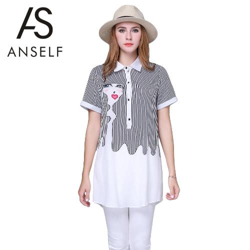 Buy Fashion Women Semi-Sheer Chiffon Blouse Stripe Abstraction Print Turn-down Collar Button Closure Plus Size Casual Shirt Top White