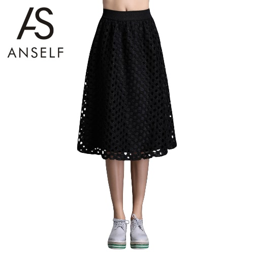 Buy Fashion Women Midi Skirt Lace Hollow Plus Size Elastic Waistband Solid Elegant Loose A-Line Black
