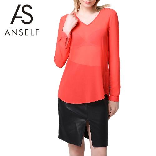 Buy Fashion Women Chiffon Blouse V-Neck Rolled Sleeve Ruched Back Asymmetric Hem Sheer Top Red