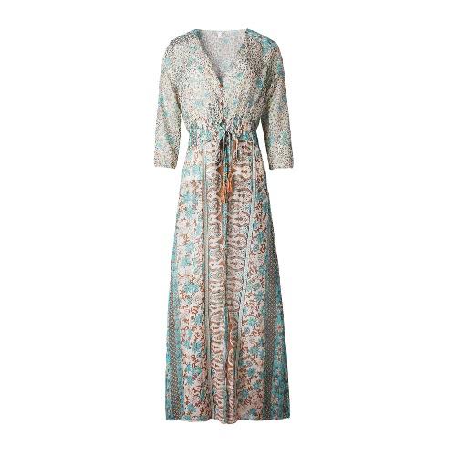 New Fashion Women Vintage Chiffon Dress Floral Print Half Sleeve Deep V Neck High Split Sexy Beach Bohemian Long Maxi Dress Blue