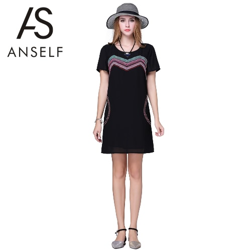 Buy Fashion Women Chiffon Dress Plus Size Embroidered Ribbon Short Sleeves O Neck H-Line Loose Straight Mini Black