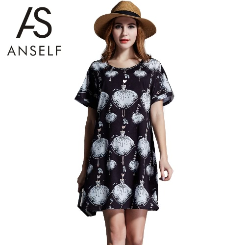 Buy Women Chiffon Mini Dress Plus Size Girl Dance Character Print O-Neck Short Sleeves Loose Black