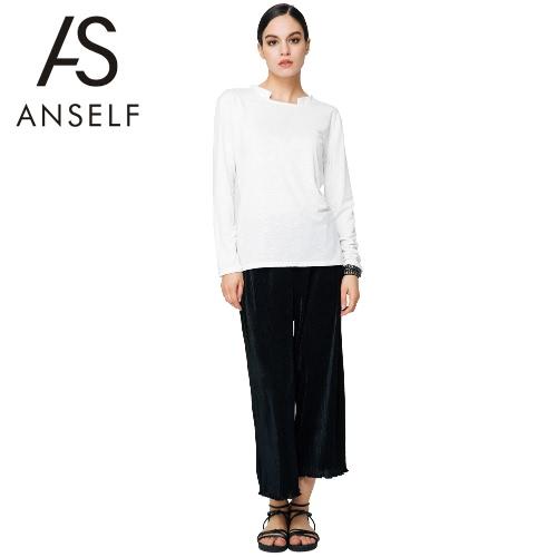 Buy Fashion Women T Shirt Long Sleeve O Neck Cut Loose Casual Top Basic Tee White