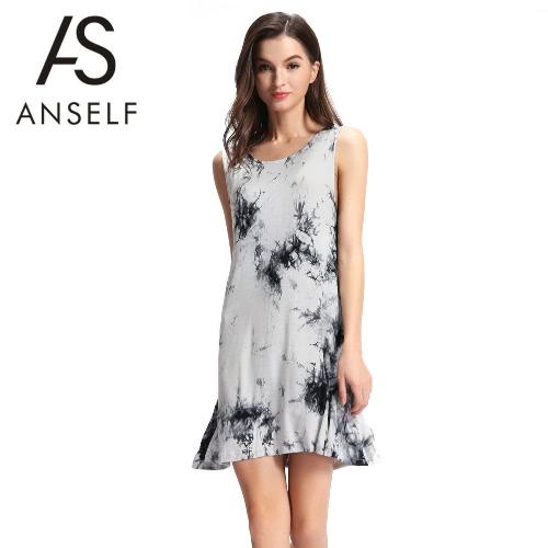 Buy Sexy Summer Women Mini Dress Tie-Dye Ink Print O Neck Sleeveless Soft Elegant Casual Sundress Black