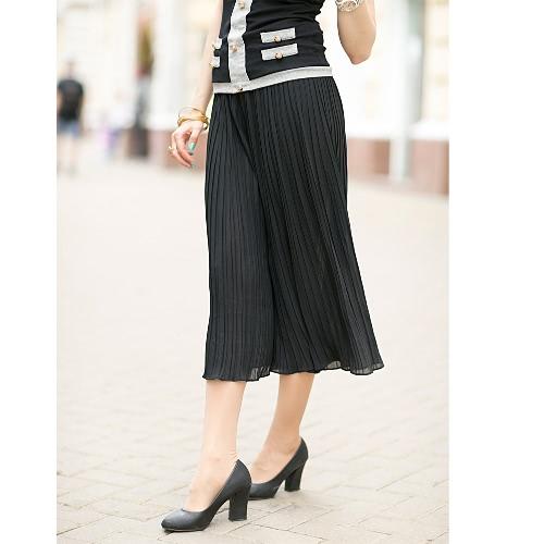 New Fashion Women Wide Leg Pants Pleated Chiffon Elastic Waist Loose Capris Flare Cropped Trousers Culottes Black