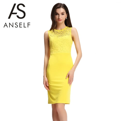 Sexy Women Sleeveless Dress Lace Splice Cut Out Back Slim Bodycon Mini Dress Evening Party Clubwear Yellow