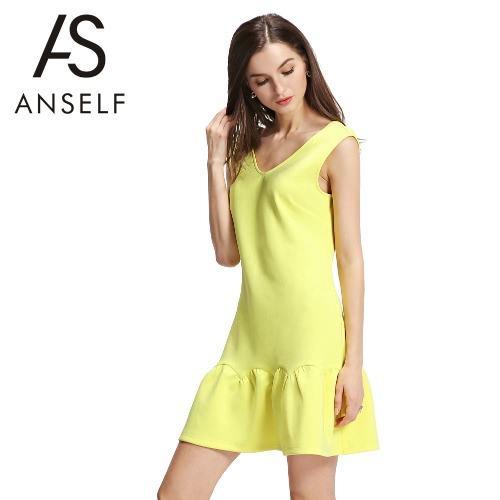 New Fashion Women Dress Deep V Back Wide Ruffle Hem V Neck Sleeveless Mini One-Piece Yellow