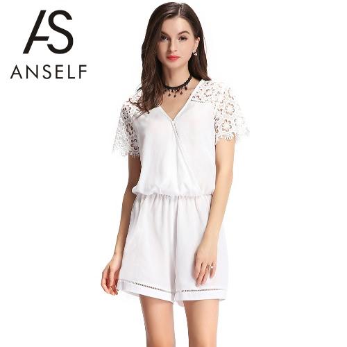 Buy Fashion Women Jumpsuit Lace Hollow Cross-Front Button V-Neck Short Sleeves Elastic Waist Playsuit Romper White