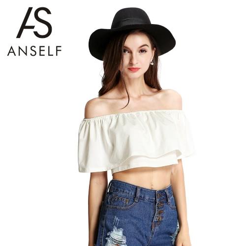 Buy Fashion Women Crop Top Boho Shoulder Stretch Trim Frilled Overlay Solid Casual Tops Beige