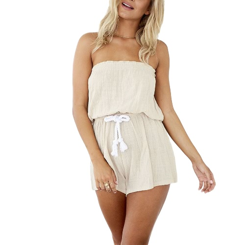 New Sexy Women Jumpsuit Elastic Slash Neck Backless Self-tie Waist Wide Leg Casual Playsuit Beige
