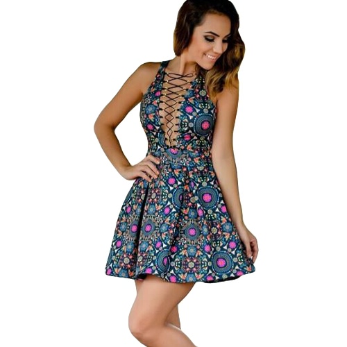 New Sexy Women Mini Dress Floral Print Lace Up Plunge V-neck Sleeveless Elegant Club Bandage Sundress Dark Blue от Tomtop.com INT