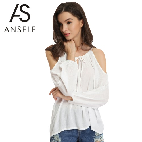 Buy Fashion Women Blouse Sexy Shoulder Self-Tie V Neck Long Lantern Sleeve Solid Color Casual T-Shirt Tee White