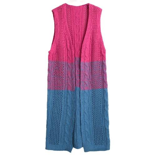New Winter Women Gradient Knitted Long Cardigan Twist Open Front Sleeveless Casual Long Outwear Blue/Light Blue/Yellow