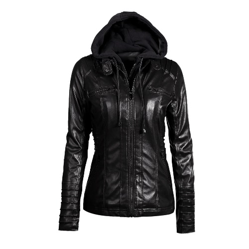 Buy Women's Faux Leather Hooded Jacket Zippered Hoodie Short Slim Motorcycle Coat