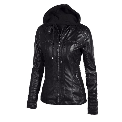 Buy Women's Faux Leather Hooded Jacket Zippered Hoodie Short Slim Motorcycle Coat