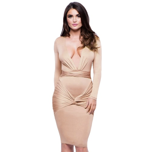 Sexy Women Midi Dress Solid Bandage Deep V-Neck Long Sleeves Bodycon Party Clubwear Pencil Dress Blue/Beige