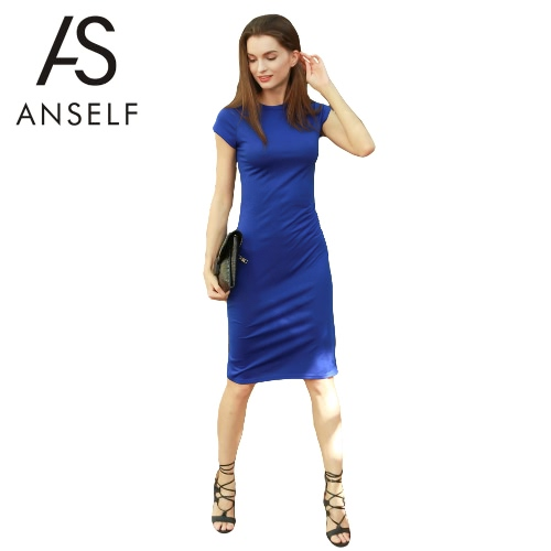 New Fashion Women Dress Solid Round Neck Short Sleeve Knee Length Bodycon Elegant Office One-Piece Royalblue