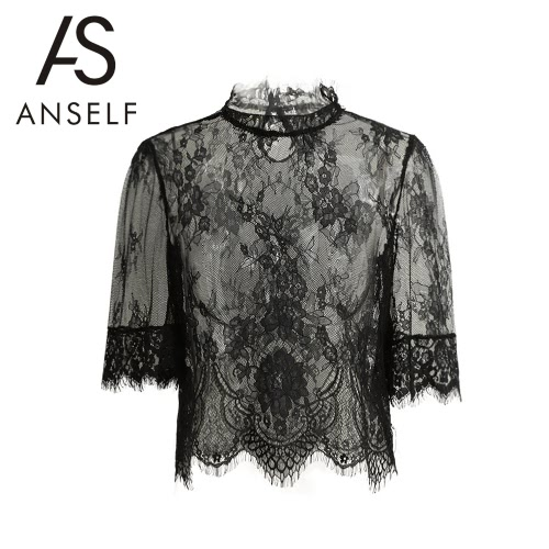 New Sexy Women Sheer Lace Blouse Embroidery High Neck Half Sleeve Mesh Shirt Clubwear Top Black