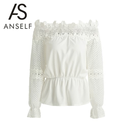 New Fashion Women Blouse Off Shoulder Crochet Lace Splice Hollow Out Flare Long Sleeve Elegant Shirt T-Shirt Tops White