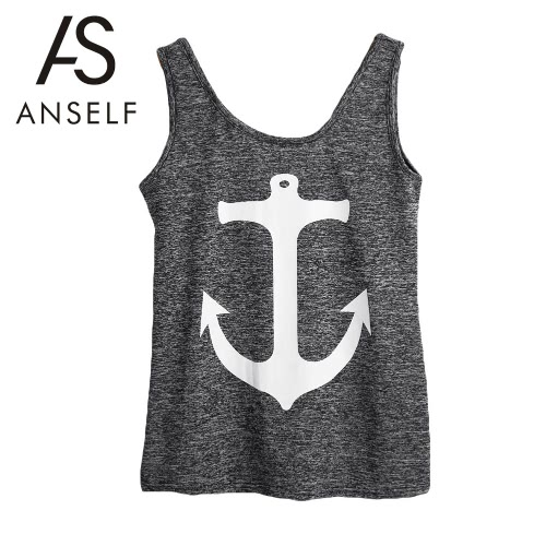 New Fashion Women Tank Top Anchor Print Scoop Neck Sleeveless Casual Vest Top T-Shirt Grey