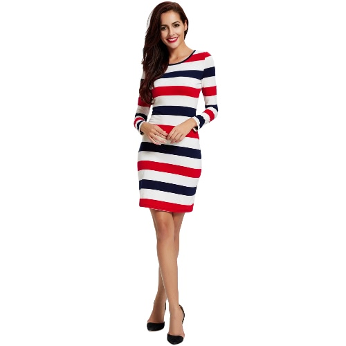 Buy Autumn Winter Women Striped Sexy Dress Long Sleeve O Neck Sheath Slim Mini Red