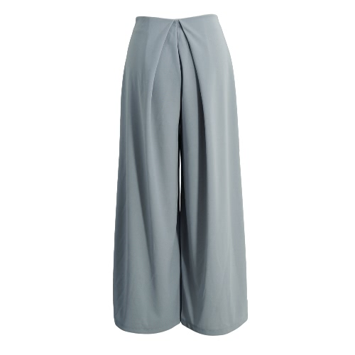 Buy Fashion Women Palazzo Pants Wide Leggings Middle Waist Zipper Harem Plus Size Trousers Grey