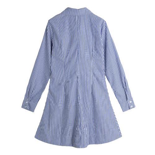 Women Shirt Dress Vertical Striped Turn-Down Collar Long Sleeve Button Casual Blouse Mini Dress Blue/Black/Red