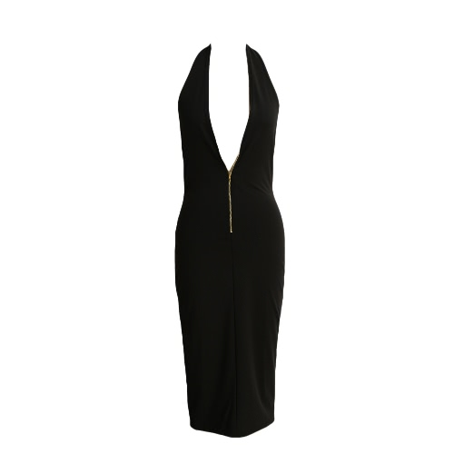 Sexy Women Bodycon Dress Front Zipper Deep V-Neck Backless Clubwear Club Party Dress Black