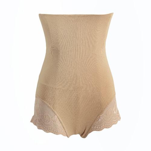 Sexy Women Shape Control Briefs Lace Cut Out Postpartum Slim Seamless Body Shaper Black/Beige