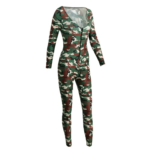 New Sexy Women Jumpsuit Camouflage Print V Neck Long Sleeve Bodycon Playsuit Rompers Bodysuit Army Green