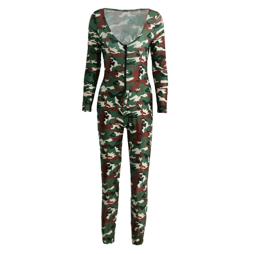 Buy Sexy Women Jumpsuit Camouflage Print V Neck Long Sleeve Bodycon Playsuit Rompers Bodysuit Army Green