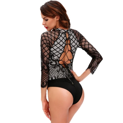 New Sexy Women Jumpsuit Lace Turtle Neck Lace Up Back Zipper Button Sexy Club Bodysuit Black