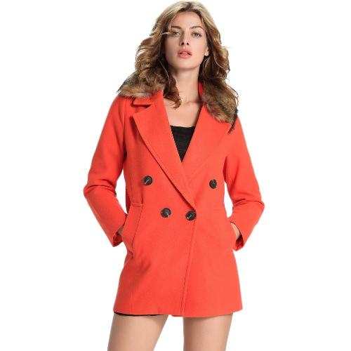 Buy Winter Women Woolen Coat Detachable Faux Fur Collar Notched Double-Breasted Long Outwear Orange