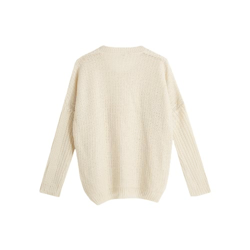 New Fashion Women Knit Sweater O Neck Long Sleeves Hollow Out Warm Pullover Knitwear