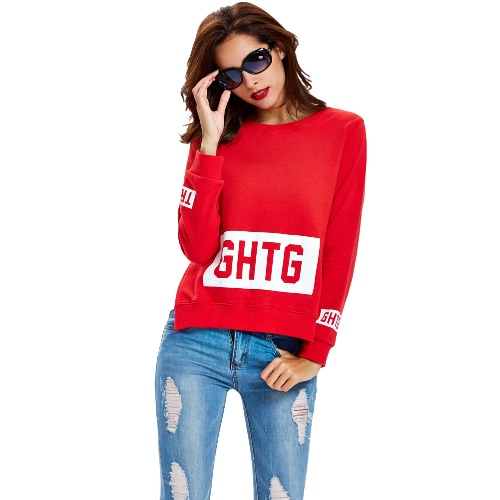 Buy Women Sweater Pullover Letter Print O-Neck Side Split Long Sleeve Casual Warm Top Red