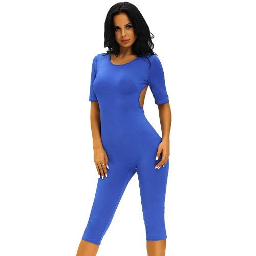 Buy Fashion Women Jumpsuit Open Back Self-Tie O-Neck Short Sleeve High Stretch Gym Fitness Bodycon Playsuit Rompers Bodysuit Blue