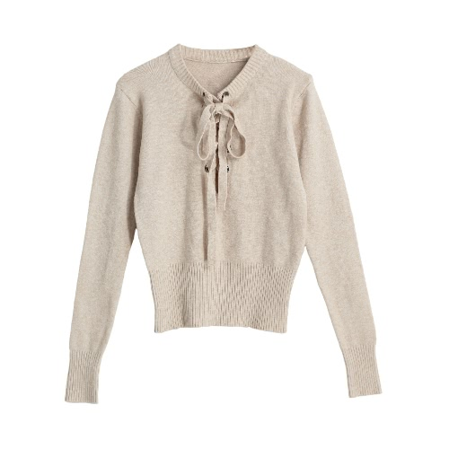 New Fashion Women V Neck Knitted Sweater Bandage Cross Ties Pullover Casual Knitwear Jumper Top Beige / Gray