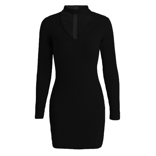 New Sexy Women Bodycon Dress Choker V Neck Long Sleeve Solid Ribbed Warm Mini Dress Party Clubwear Black/Grey